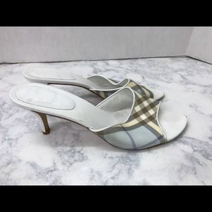 Burberry White Leather Brown Blue Plaid Shoes 11